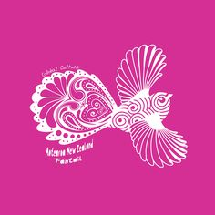 New Zealand art block - The cheeky fantail in pink