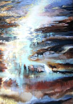 Russian-born artist Irena Kononova combines oil paint, sand, and marble dust on canvas to create her textured landscape paintings. Many pieces involve vibrant, illuminated pathways that visually draw the viewer through the dark surroundings and into the horizon. http://www.irenakononova.com/portfolio.html