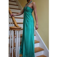 Cache Teal Embellished Halter Prom Dress Sz 0 Full length embellished gown, worn once, chiffon material, fully lined with bra cups, should fit 0-4 Cache Dresses Prom