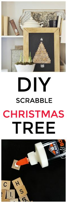 Looking for an easy project you can make in an hour? Here are the step-by-step instructions to make this DIY Scrabble Tile Christmas tree. Painting Moving Decor and Organization Diy Christmas Tree, All Things Christmas, Handmade Christmas, Christmas Decorations, Christmas Ideas, White Christmas, Christmas Holidays, Merry Christmas, Xmas