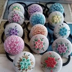 Beautiful Embroidery Covered Button! jwt