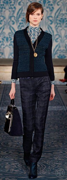 Look 10, Kasia: Tweed & knit cardigan, Scarab print chiffon turtleneck, Tweed pant