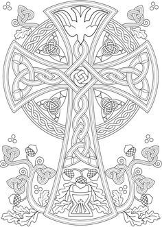 Willkommen bei Dover Publications – Coloring pages - Malvorlagen Mandala Cross Coloring Page, Printable Adult Coloring Pages, Mandala Coloring Pages, Coloring Pages To Print, Coloring Book Pages, Fall Coloring, Celtic Symbols, Celtic Art, Celtic Crosses