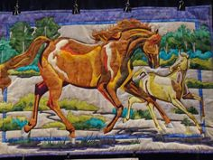 horse in the Bigfork Bay Cotton Co. booth at quilt market Western Quilts, Country Quilts, Dog Quilts, Animal Quilts, Cowboy Quilt, Horse Quilt, Horse Crafts, Traditional Quilts, Quilt Patterns Free