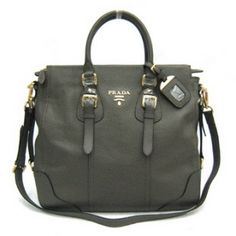 216ea68ecb £159.00 Outle Prada Leather Tote Bag Br2350 Dark Gray Outlet Space