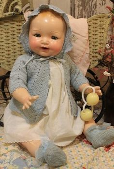 "Big 24"" Madame Hendren Old Antique Vintage Composition and Cloth Baby Doll 