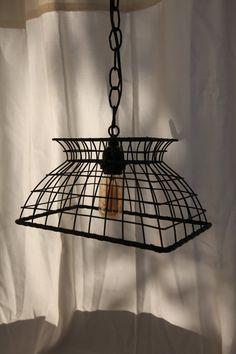 Shabby Chic Black Wire Basket Lamp
