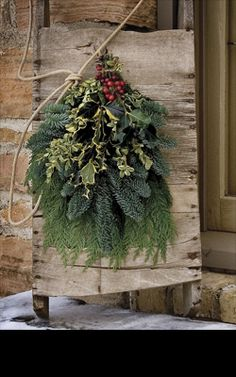 Rustic Wood...pine & holly...with berries.