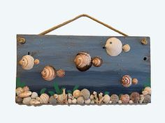 Reclaimed wood sea shell fish wall hanging – Caroline Anthony Gettz - Touching and Emotional Image Sea Crafts, Fish Crafts, Rock Crafts, Diy And Crafts, Seashell Art, Seashell Crafts, Deco Marine, Seashell Projects, Recycled Crafts