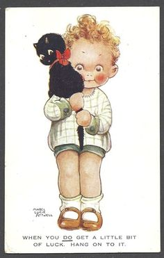 Mabel Lucie Attwell card | eBay when you get a little luck, hang onto it art toddler