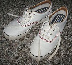 1b1c83c510d Womens White Keds Shoes with Red Baseball Stitching size 8