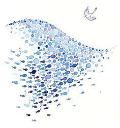 Fish. Dove. Wave. Watercolor.