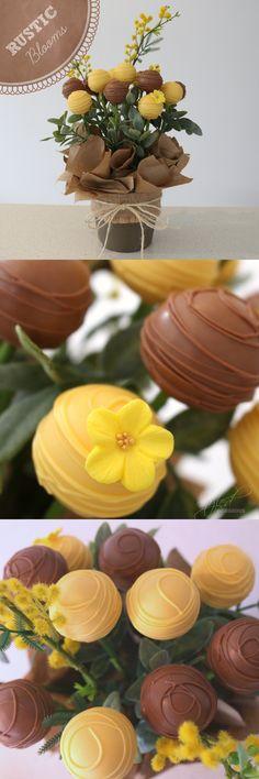 RUSTIC BLOOMS Cake Pops Floral Arrangement | Bouquet | Gift in pot https://www.etsy.com/au/listing/200678258/rustic-blooms-cake-pops-floral?ref=listing-shop-header-2