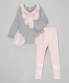 Take a look at this Gray & Pink Ruffle Bow Tunic & Leggings - Toddler & Girls by Mia Belle Baby on #zulily today!