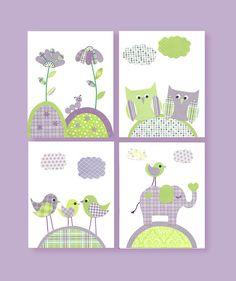 Green and Purple Nursery, Girl Nursery, Owl, Flowers, Elephant, Bird Nursery, 8 x 10, cute nursery art