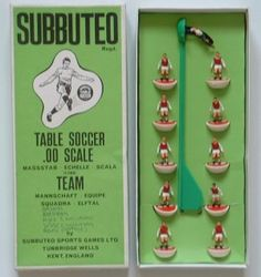 This is how a Subbuteo team looked when it was purchased...I had my friend buy me a few of them on one of his trips home to England. This is the Arsenal team.