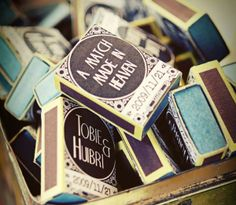 Adorable wedding favor idea - personalized matches with a quote