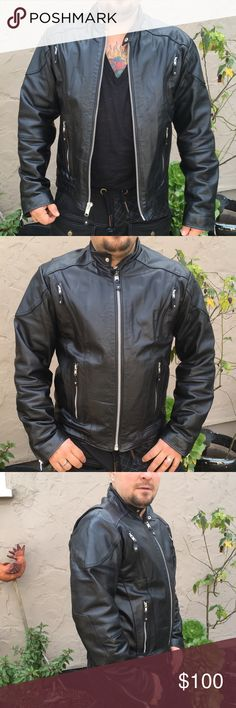 BN w/o tags Moro Leather Jacket M Perfect condition moto jacket from Wilson's Leather. Beautiful orange liner. Would make a great gift. No hard plates like in serious moto jackets but this would do for riding around town. M Wilsons Leather Jackets & Coats