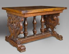 Draw-Top Table  Artist/maker unknown, French  Geography: Made in France, Europe Date: 16th century side panels; modern additions Medium: Walnut; modern top and balusters and other restorations