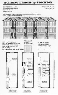 Apartment Building House Plans 5 plex 15' wide unit and have 1 car garage | apartment/house plan