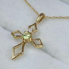 "10K Solid Yellow Gold Pendant and 10K Chain 18"" Peridot Cross"