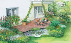 Das halbrunde Teichbecken ergänzt die Kreisstrukturen der gepflasterten Fläche bestens – Mehr Gestaltungsideen finden Sie auf unserer Pinnwand Vorher-Nacher