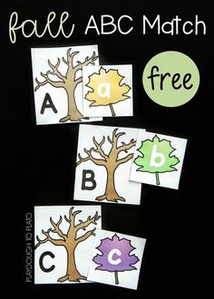 Fall Leaf Alphabet Match is a fun way for preschoolers and kindergarten to work on matching their letters. This would be a good way to introduce fall to the students. Fall Preschool Activities, Kindergarten Literacy, Alphabet Activities, Literacy Centers, Preschool Tables, Literacy Stations, Preschool Lessons, Toddler Activities, Tree Study