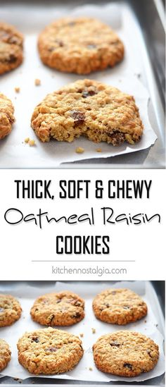 The BEST Thick, Soft and Chewy Oatmeal Raisin Cookies - so comforting, these big cookies are crispy on the outside while soft and chewy on the inside - by kitchennostalgia.com