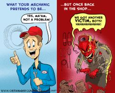 The good and bad of mechanics Mechanic Humor, Daily Cartoons, Comic Books, Comics, Boys, Funny, Baby Boys, Funny Parenting, Cartoons