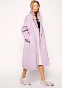 Asos Violet oversized coat skirt and nike trainers