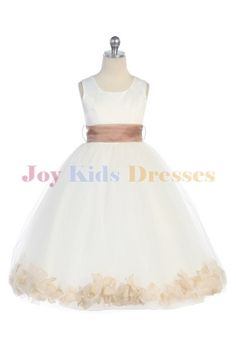 long dress with taupe petals and sash