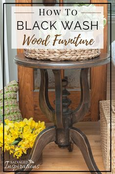 Black Wash Wood Furniture SideTable Restyle is part of Diy furniture - How To Black Wash Wood Furniture for a beautiful stained look without using stain! Furniture Repair, Furniture Projects, Furniture Makeover, Furniture Design, Black Furniture, Modern Furniture, Furniture Removal, Furniture Online, Joy Furniture