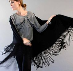Black cashmere shawl, to keep warm when hopping from party to party!! #janeiredaleHolidayParty
