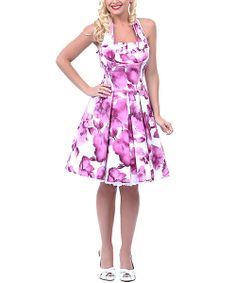 Take a look at the Unique Vintage Purple & White Floral Flirty Halter Dress - Women & Plus on #zulily today!