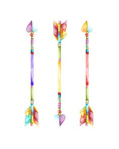 Arrow Print Watercolor Arrow Painting Arrow by BrilliantCritter