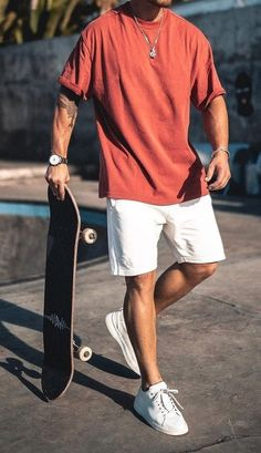 Mode Outfits, Grunge Outfits, Guy Outfits, Casual Outfits, Streetwear Shorts, Mens Streetwear Fashion, Summer Outfits Men, Men Summer, Outfit Summer