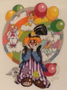 clown and baloons Cross Stitch For Kids, Cross Stitch Love, Cross Stitch Kits, Counted Cross Stitch Patterns, Swedish Weaving, Alphabet For Kids, Back Stitch, Le Point, Clowns