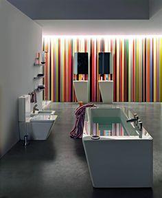 """LAUFEN ILBAGNOALESSI dOt is een perfect uitgebalanceerde verzameling van producten die niet de aandacht afleiden van het werkelijke doel van de badkamer: de reiniging van lichaam en geest. """"Alle producten zijn voornamelijk gewijd aan ontspanning"""", vertelt de Nederlandse architect en ontwerper Wiel Arets. Deze serie werd, net als zijn soulmate, ILBAGNOALESSI One gecreëerd in nauwe samenwerking met de Italiaanse designorganisatie, Alessi."""