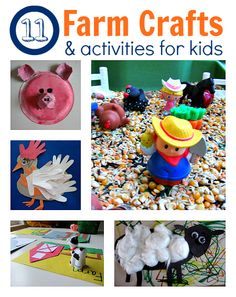 11 Farm Crafts & Activities for Kids - Crafts, books, and learning for babies and kids. Lots of activity ideas for kids play Farm Activities, Craft Activities For Kids, Toddler Activities, Preschool Activities, Projects For Kids, Crafts For Kids, Activity Ideas, Preschool Farm, Farm Fun