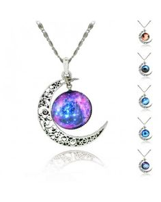 Choker Necklace Glass Galaxy Lovely Pendant Silver Chain Moon Sliver Pendant Necklace
