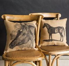 These feedsack pillows are the perfect touch of farmhouse comfort for your home. What could be more farmhouse-like than grain sack pillows with horse images? For more feedsack pillows visit Antique Farmhouse. Antique Farmhouse, Farmhouse Decor, Burlap Sacks, Glass Milk Bottles, Little Designs, Feed Sacks, Grain Sack, Wire Baskets, Pillow Talk