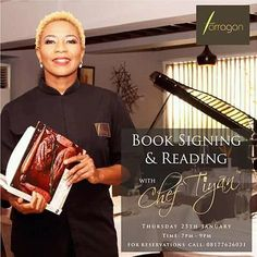"Welcome to MyCookery Zone Food Media| Book signing and reading with Chef Tiyan Alile.  Our own wonder woman Chef Tiyan Alile founder of Tarragon and Culinary Academy Nigeria is calling on ""everyone who loves good food and everyone who loves great company"" for a book signing and reading session with her on Thursday 25th January 2018. Apart from signing her cookbook ""TALE IN A PIE"" launched on the 5th of May 2017 there will be lovely delicacies to indulge. Start marking your calendars…"