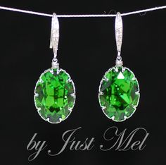 Swarovski Fern Green Oval Crystal with White Gold Plated Cubic Zirconia Detail Earring Hook - Wedding Jewelry, Bridal Earrings (E431). $34.99, via Etsy.