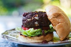 American buffalo (bison) burger with smoky barbecue sauce, from Simply Recipes. Bison Burger Recipe, Burger Recipes, Grilling Recipes, Beef Recipes, Healthy Recipes, Simply Recipes, Great Recipes, Favorite Recipes, Buffalo Burgers
