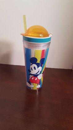 Disney Store Mickey Mouse Summer Fun Tumbler & Snack Bottle w/ Straw 16oz  #DisneyStore