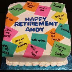 Post it Note Retirement Cake -  Bucket List.