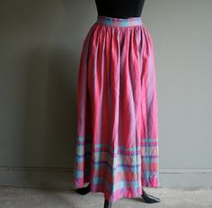 very cute 80's pink cotton summer skirt