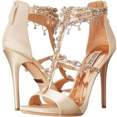 Badgley Mischka Dent (Ivory Satin) High Heels ($228) ❤ liked on Polyvore featuring shoes, bone, stiletto high heel shoes, dressy shoes, wrap shoes, platform shoes and t strap shoes #shoeshighheelsfancy
