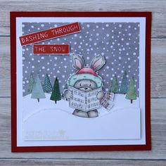 Wouldn't you love it if this little fellow turned up singing carols on your doorstep? He could bring his cute little frien. Dashing Through The Snow, Digi Stamps, Lawn Fawn, Lily Of The Valley, Christmas Cards, Singing, Rabbit, Cute, Card Ideas