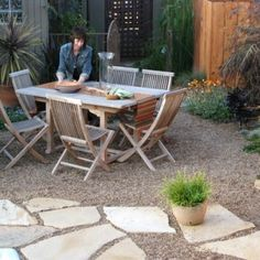 gravel and paver stone patio - not good for cats, but so nice